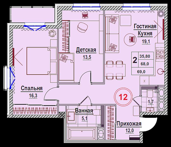 Планировка Двухкомнатная квартира площадью 68.49 кв.м в ЖК «Rich'Art Club»
