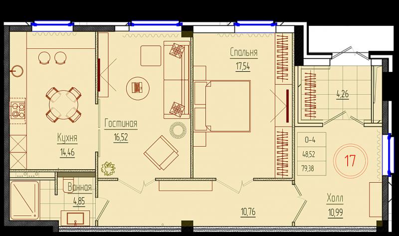 Планировка Двухкомнатная квартира площадью 79.7 кв.м в ЖК «Rich'Art Club»