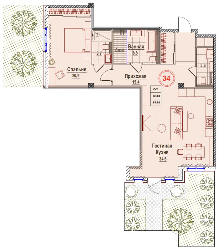 Планировка Однокомнатная квартира площадью 81.8 кв.м в ЖК «Rich'Art Club»