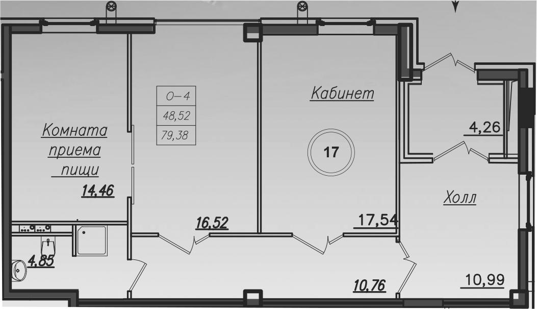 Планировка Трёхкомнатная квартира площадью 79.7 кв.м в ЖК «Rich'Art Club»