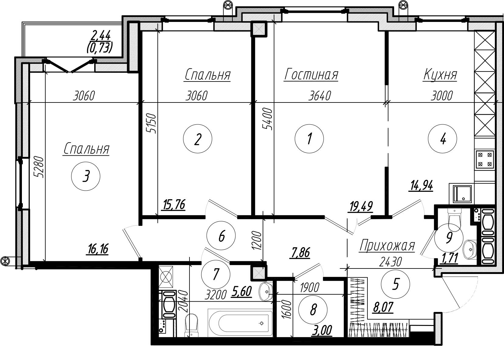 Планировка Трёхкомнатная квартира площадью 94 кв.м в ЖК «Rich'Art Club»