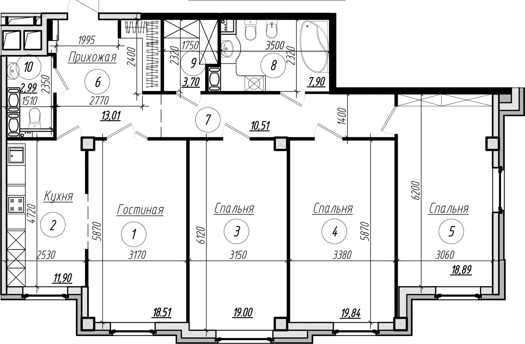 Планировка Четырёхкомнатная квартира площадью 126.5 кв.м в ЖК «Rich'Art Club»