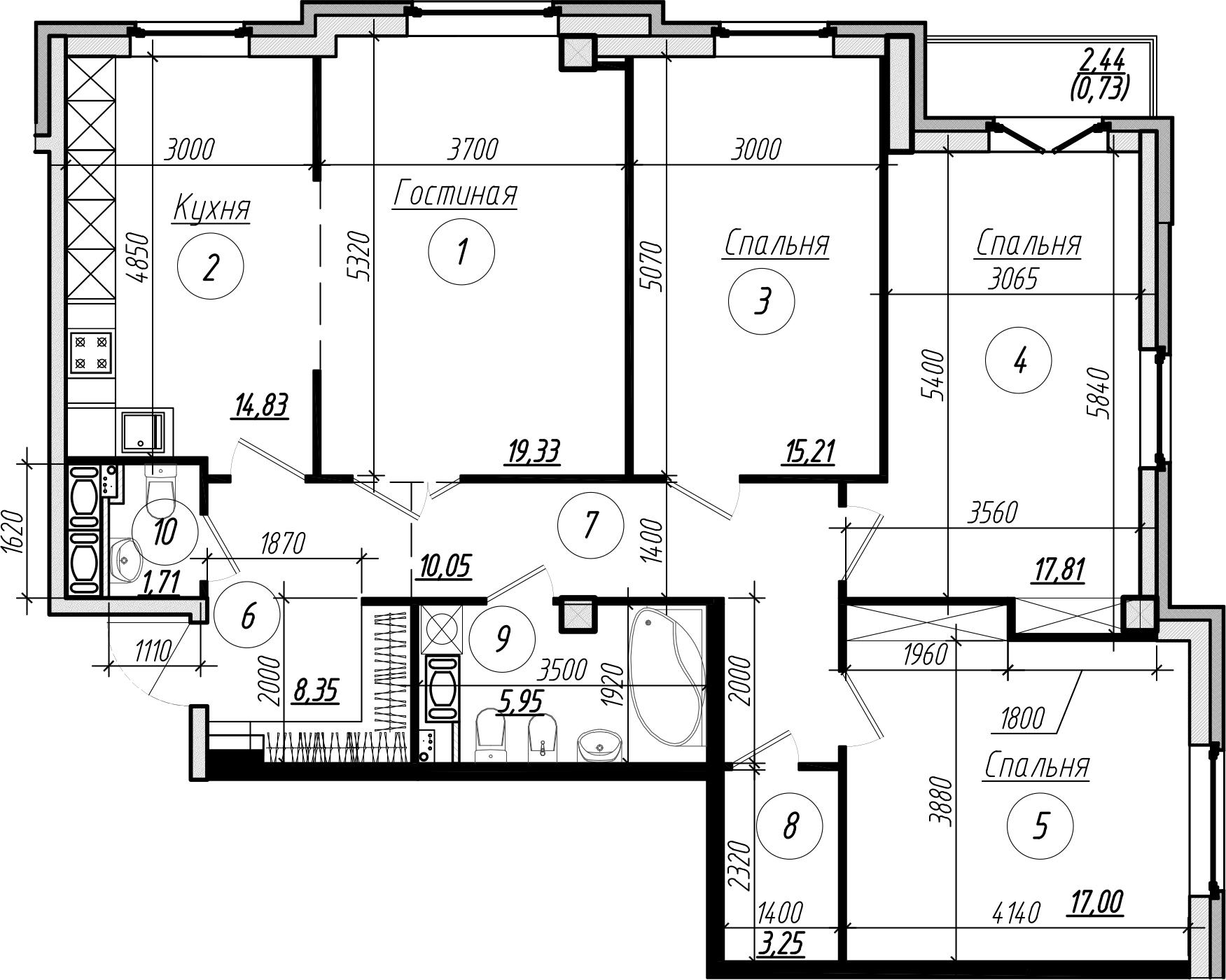 Планировка Четырёхкомнатная квартира площадью 114.2 кв.м в ЖК «Rich'Art Club»