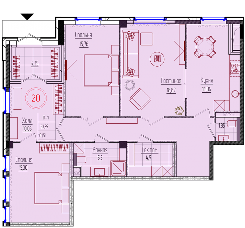 Планировка Трёхкомнатная квартира площадью 107.2 кв.м в ЖК «Rich'Art Club»
