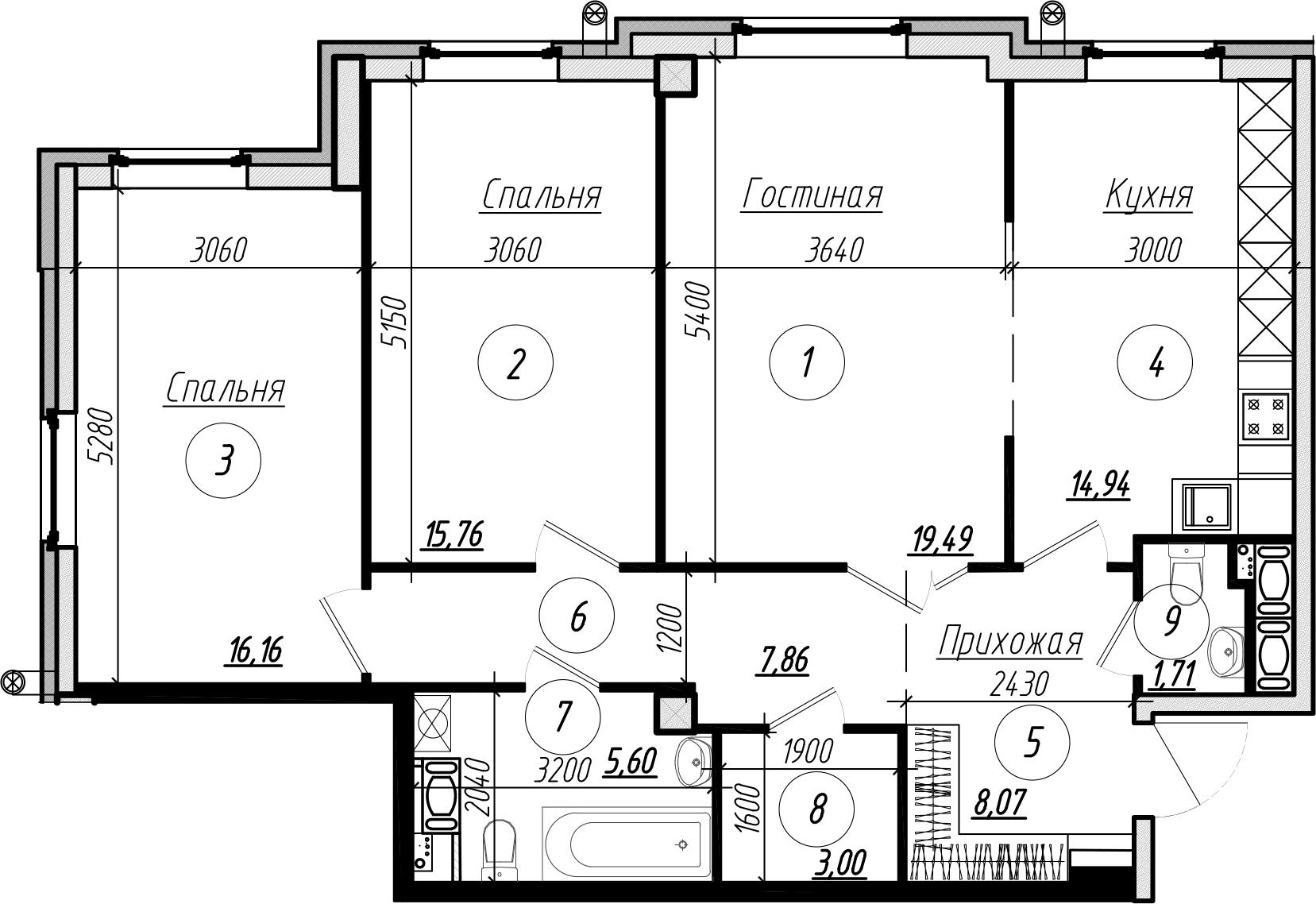 Планировка Трёхкомнатная квартира площадью 92.9 кв.м в ЖК «Rich'Art Club»