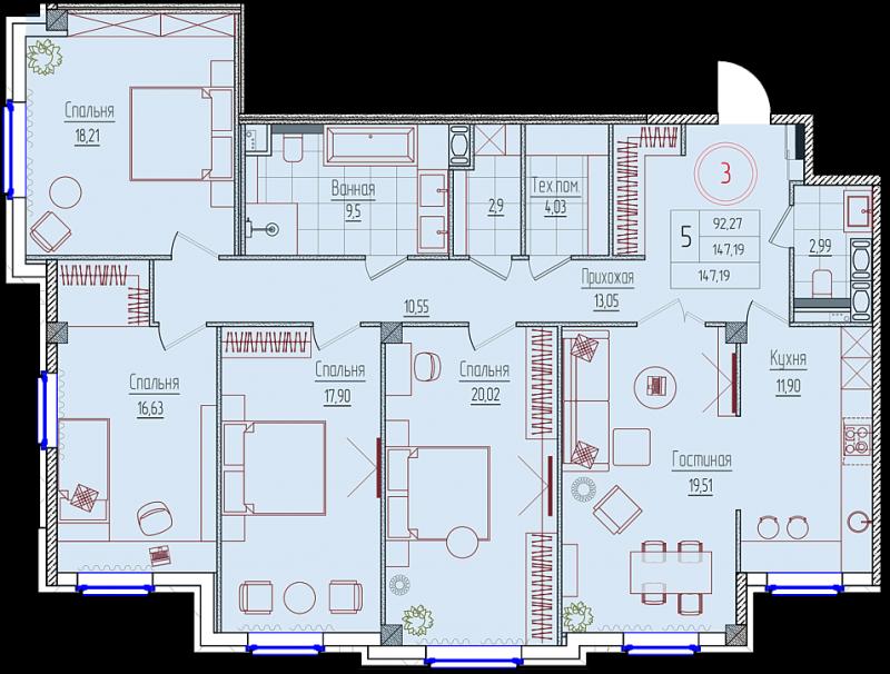 Планировка Четырёхкомнатная квартира площадью 147.5 кв.м в ЖК «Rich'Art Club»