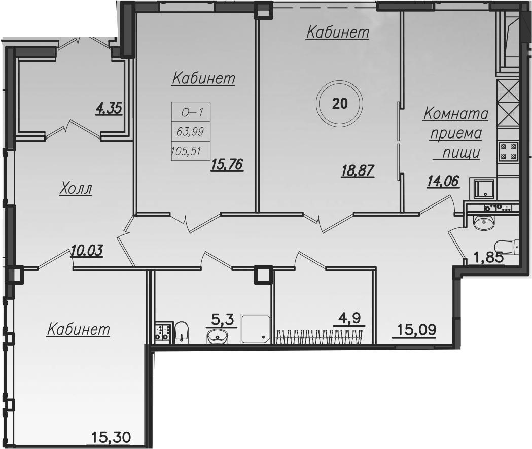 Планировка Четырёхкомнатная квартира площадью 107.2 кв.м в ЖК «Rich'Art Club»