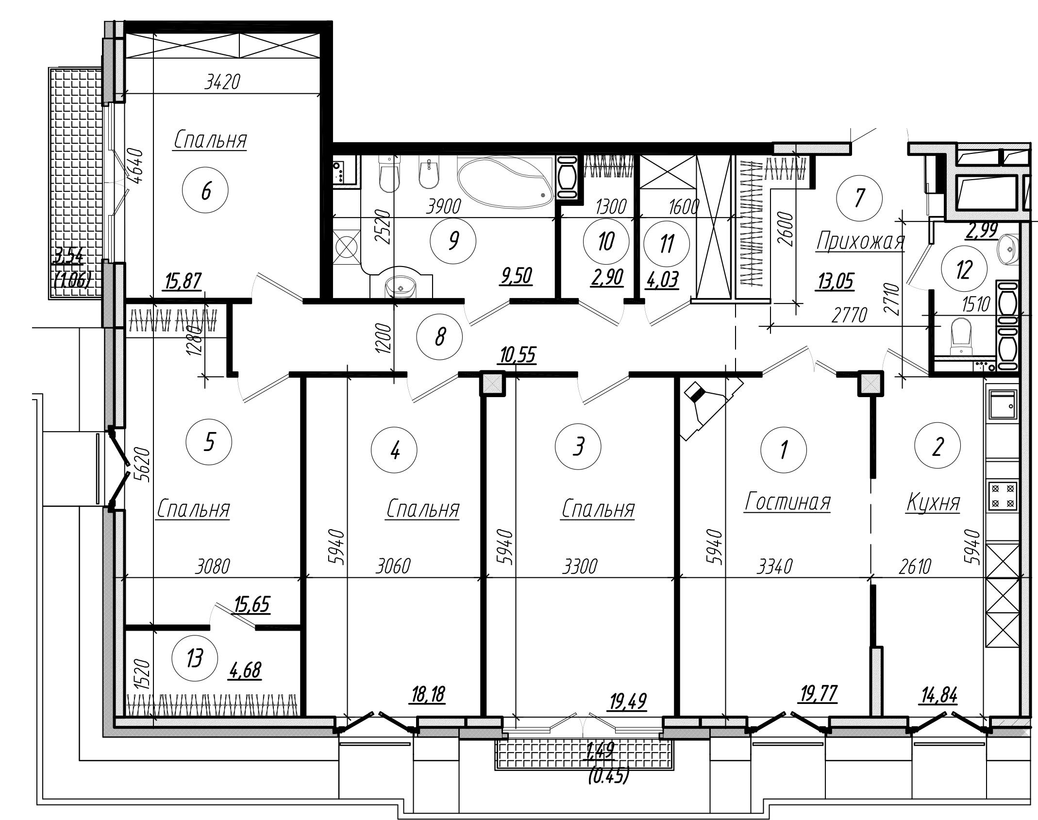 Планировка Пятикомнатная квартира площадью 156.6 кв.м в ЖК «Rich'Art Club»