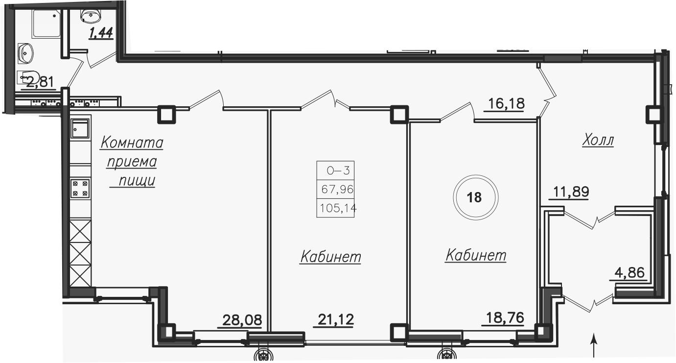 Планировка Трёхкомнатная квартира площадью 106.2 кв.м в ЖК «Rich'Art Club»