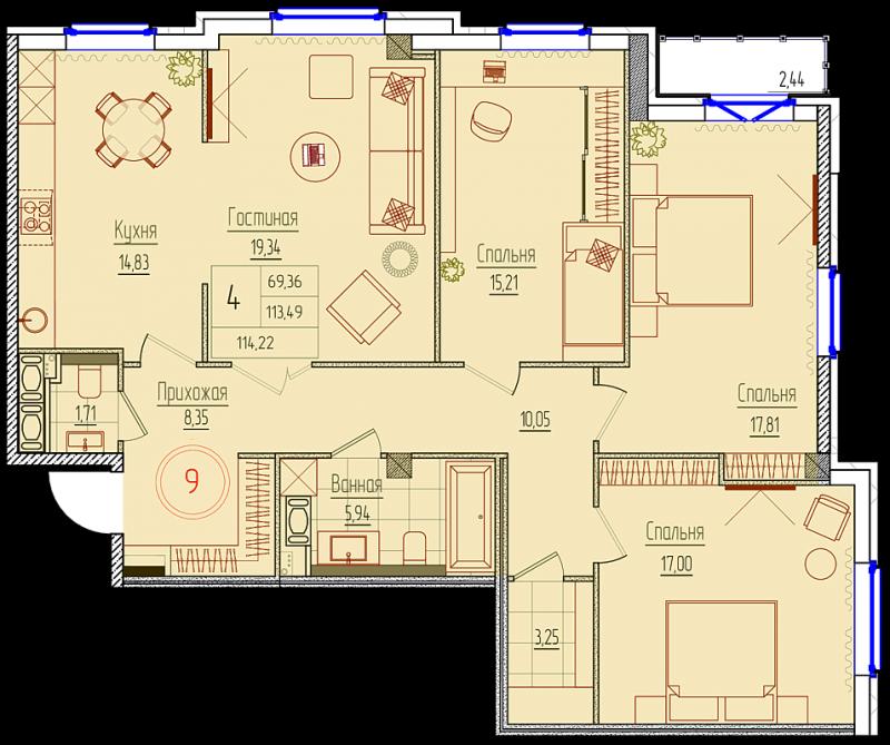 Планировка Трёхкомнатная квартира площадью 113.9 кв.м в ЖК «Rich'Art Club»