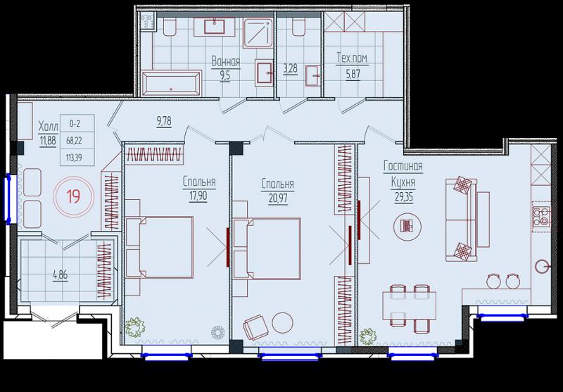 Планировка Двухкомнатная квартира площадью 114.1 кв.м в ЖК «Rich'Art Club»
